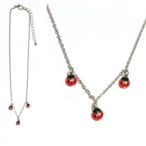 Collier Rouge Argenté / Rhodium Coccinelle en Metal Emaille pour Enfant