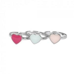 Bague réglable Multicouleur Argenté / Rhodium Coeur en Metal Emaille pour Enfant