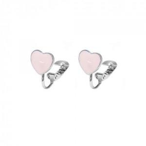 Boucle d'oreilles Clip Bleu Argenté / Rhodium Coeur en Metal Emaille pour Enfant
