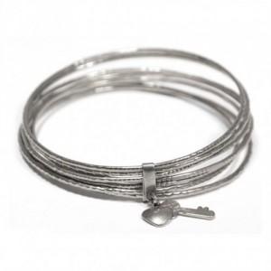 Bracelet rigid Argenté Argenté / Rhodium Clé / Cadenas en Metal pour Enfant