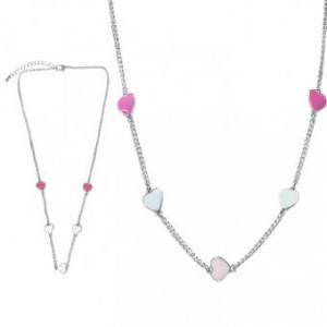 Collier Multicouleur Argenté / Rhodium Coeur en Metal Emaille pour Enfant